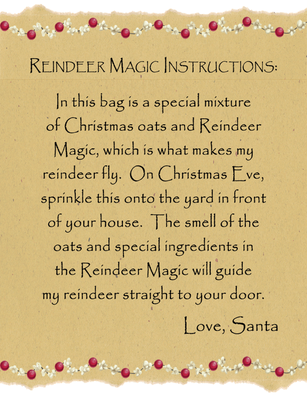 -illustrated storybook, plush reindeer and bag of MAGIC REINDEER FOOD ...